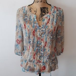 A.N.A. Tan Floral 3/4 Sleeve Sheer Blouse Size L